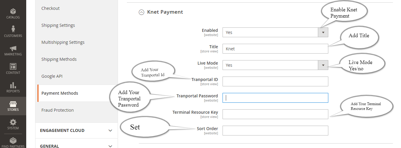 Knet Payment Method Setting