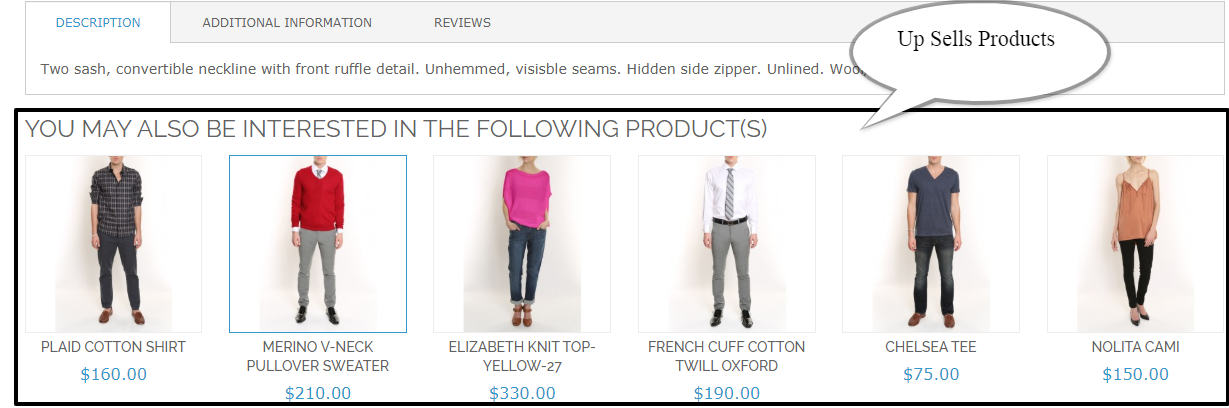 Frontend view  up-sells product