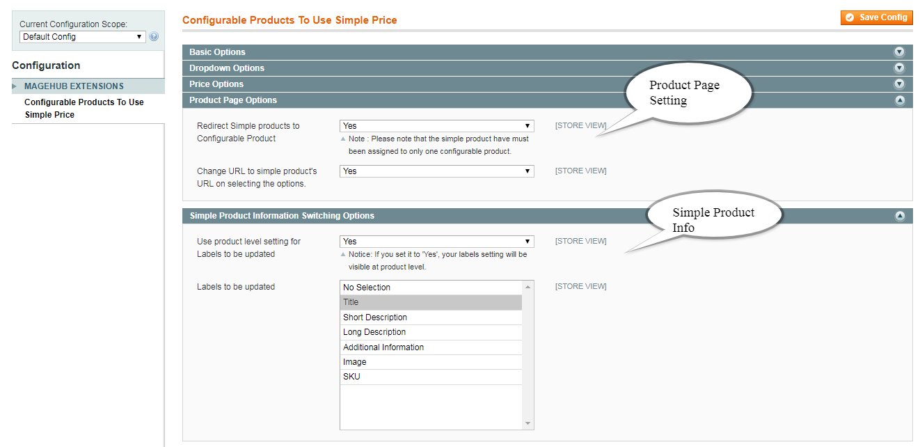 Product Page Option/Simple Product Information Switching Options Setting