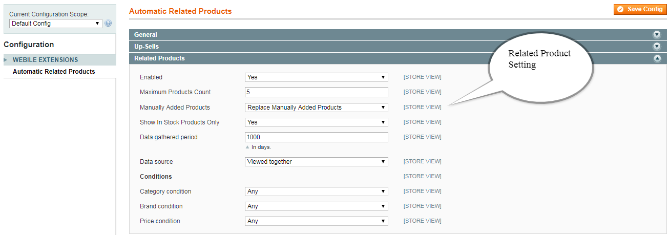 Related Products Setting